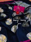 Navy blue color banarasi silk jacquard weaving saree with rich pallu