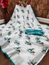 Firoji and white color semi linen cotton saree