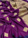 Magenta color soft weaving jacquard saree with rich pallu