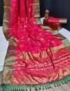 Pink color banarasi khicha silk weaving saree with zari work