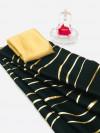 Black color satin silk saree with floral print