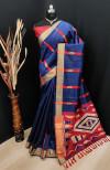 Blue color bhagalpuri cotton banarasi silk handloom weaving saree