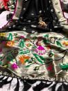 Black color pure kanchipuram silk saree with zari work