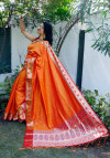 Orange color Soft banarasi silk saree with golden zari jacquard weaving work