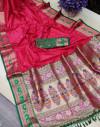 Pink color soft khicha silk weaving saree with meenakari woven pallu