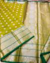 Mehndi green color lichi silk saree with silver zari work