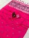 Pink color lichi silk saree with attractive silver zari weaving work