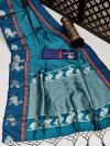 Rama green color soft raw silk saree with zari work