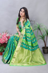 Green color banarasi silk saree with zari weaving work