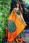Dark green color hand bandhej bandhani saree with zari weaving border