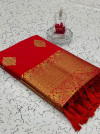 Red color soft weaving jacquard saree with rich pallu
