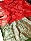 Red color soft silk weaving saree with zari rich pallu