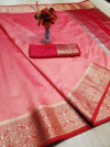 Peach color rich crystal silk saree with weaving border work