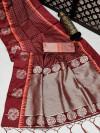 Maroon color soft raw silk saree with zari work