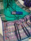 Rama green color soft khicha silk weaving saree with meenakari woven pallu