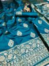 Rama green color banarasi soft silk saree with rose gold zari weaving work