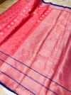 Gajari color lichi silk saree with silver zari work