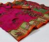 Pink color pochampally ikat pattu print saree