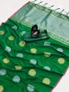 Green color banarasi silk weaving jacquard saree with rich pallu