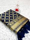 Navy blue color banarasi weaving silk saree with beautiful tassel