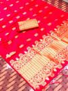 Pink color lichi silk saree with golden zari work