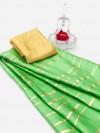 Parrot green color satin silk saree with floral print