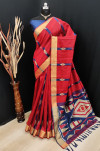 Red color bhagalpuri cotton banarasi silk handloom weaving saree