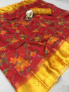 Red color soft doriya cotton saree with beautiful flower print work