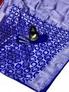 Royal blue color soft banarasi silk saree with silver zari weaving work