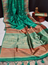 Sea green color tussar silk weaving saree with ikkat woven border & zari woven pallu