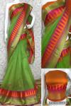 Green color manipuri jecquard work saree with exclusive temple border