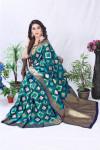 Navy blue color banarasi silk saree with golden zari weaving work
