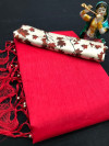 Red color plain soft silk saree with stick peral work