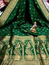 Green color banarasi silk saree with golden zari work