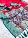 Pink color soft banarasi silk saree with golden and silver zari work