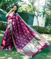 Magenta color soft lichi silk saree with silver and golden zari weaving work