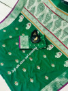 Green color banarasi silk golden zari weaving saree with rich pallu