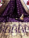 Magenta color banarasi silk saree with golden zari work