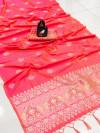 Peach color lichi silk saree with silver zari weaving work