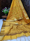 Yellow color assam silk saree with embroidered jal work