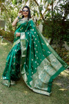 Green color soft lichi silk saree with silver and golden zari weaving work
