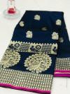 Navy blue color banarasi silk jecquard work saree with rich pallu