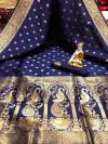 Navy blue color banarasi silk saree with golden zari work