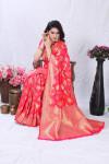 Pink color banarasi silk saree with golden zari weaving work