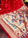 Red color pure kanchipuram silk saree with zari work