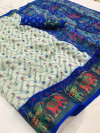 Multi color soft cotton pochampally ikat saree with zari border