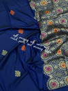 Navy blue color soft silk weaving jacquard saree with rich pallu