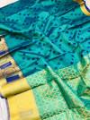 Rama green color soft kora muslin silk saree