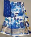 Multi color linen saree with zari border