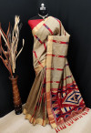 Beige color bhagalpuri cotton banarasi silk handloom weaving saree